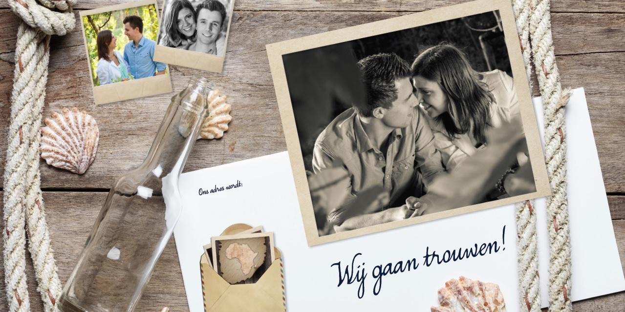 Voor en achterkant trouwkaart