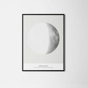 Een poster van My Lunar Phase. De stand van de maan toen Naomi geboren is.